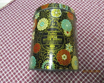 Vintage Cherrydale Fams E. Cherry Sons & Co Philadelphia Pa Cashew Butter Crunch Candy Tin Retro Flowers Gold Accent Tin Can Canister