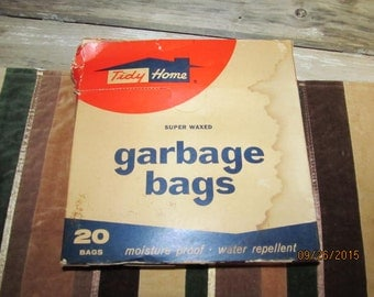 Vintage Tidy Home Super Waxed Garbage Bags Lestoil Holyoke Mass Original Box Stage Prop