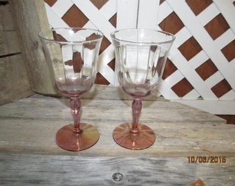 Sale was 14.79~Vintage Pink Peach Tinted Iridescent Champagne Glasses Set of 2 Pair Romantic Candlelight Dinners