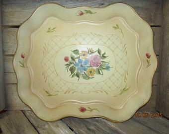 """Sale was 34.88~Vintage Nashco Hand Tole Painted Metal Tray Toleware Ivory Gold Flower Floral Bouquet New York 17"""" x 14"""" Silver Label"""