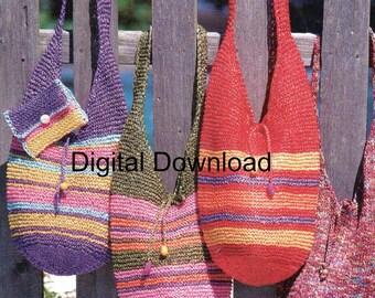 Boho Hobo, Hippie, Market Bag, Tote, Purse Satchel, Beginner Vintage Crochet Pattern, Instant PDF, Digital Download