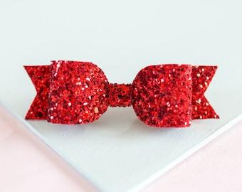 Girl/baby Medium Red Glitter hair bow on Hair Clip