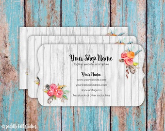 Business Cards - Custom Business Cards - Personalized Business Cards - Mommy Calling Cards - Barn Wood Floral - P0113-7
