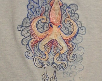 Embroidered T-shirt t tee shirt - Seven Seas Squid - Men regular or Big size Tshirt S M L XL 2X 3X 4x 5x