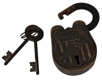 Antique Cast Iron Union Pacific Railroad Lock Collectible