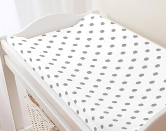 Carousel Designs White and Gray Polka Dot Changing Pad Cover