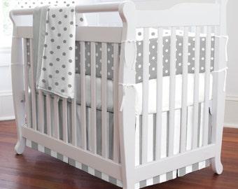 Gray and White Dots and Stripes Girl Mini Crib Bumper / Boy Mini Crib Bumper / Gender Neutral Mini Crib Bumper