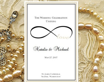 """Wedding Program """"Infinity Love"""" Champagne & Black Ceremony Order of Service Word.doc Template Instant Download ALL COLORS DIY U Print"""