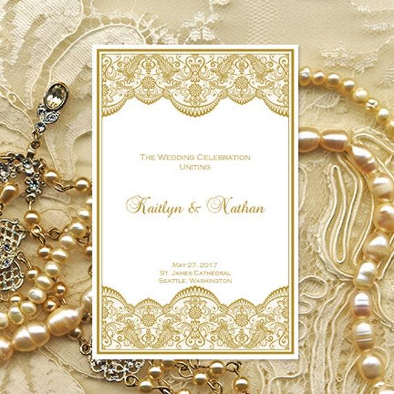 Gold Wedding Program Vintage Lace Printable Template Make Your Own Ceremony Programs Order Of Service DIY U Print