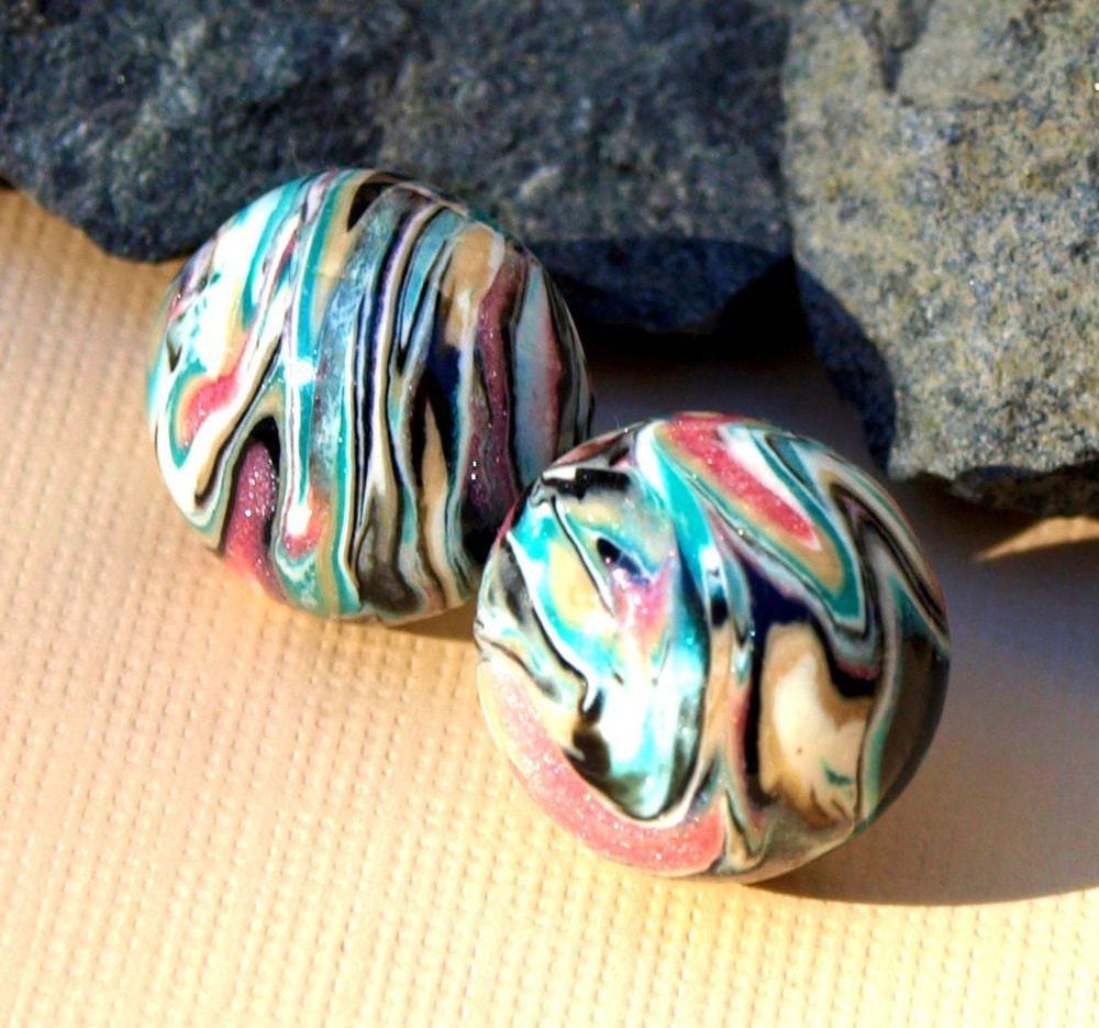 Mokume Gane Earrings: Clay Earrings Mokume Gane Modern OOAK Earrings Multi-Colored