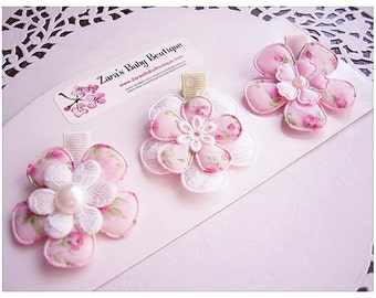 Shabby Chic Hair Clips, Pink Daisy Clips, Baby Clips, Flower Hair Clips, Lace Hair Clips, ZBB