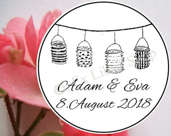 "wedding stamp ""paper lanterns"", personalized rubber stamp, wedding stamp, custom wedding stamp, wedding DIY, name stamp, save the date stamp"