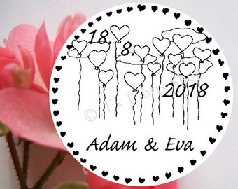 """Personalized wedding stamp """"Flying ballons"""", rubber stamp, wedding, custom wedding stamp, save the date stamp, 828"""
