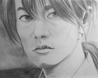 9x12 Drawing of Ruroni Kenshin