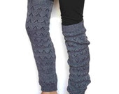Women long  Leg warmers in gray / Boot cuff / Urban clothing / Knit leg wear / Lace dance leg warmers