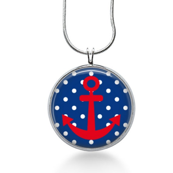 Blue Anchor Necklace, Nautical Pendant, water ,gifts for women,jewelry, necklace