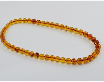 Cognac Amber Necklace, Balls accurate form, best squality, Baltic amber