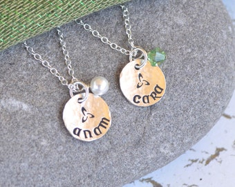 Two Soul Mate/Friend 'Anam Cara' Pendant Necklaces in Sterling silver with Birthstone Charm or Connemara Marble