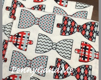 Two Personalized Bow tie Burp Cloths ~ Baby Boy Burp Cloths ~ Flannel Burp Cloths