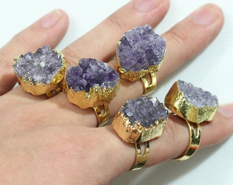 Promotion Adjustable Amethyst Druzy Drusy Ring Gemstone Ring Jewelry YHA-102