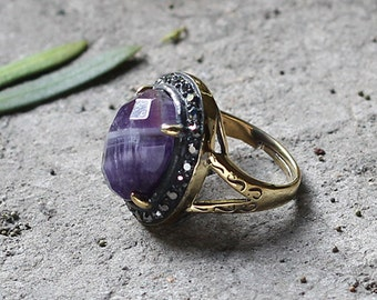 Amethyst Ring Retro Style YHA-101