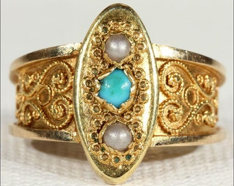 Antique Scandinavian Pearl and Turquoise Filigree Gold Ring