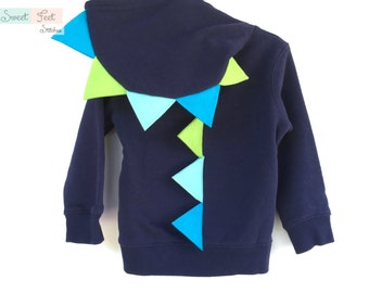 4T Navy Dinosaur Costume with Blue & Green Spikes