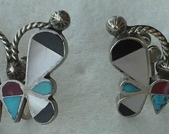 Vintage Zuni butterfly screw back earrings sterling multi stones inlay
