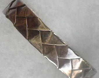 Vintage mexico artisan folded woven sterling silver cuff bracelet