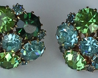 Vintage Karu Arke  Inc pair of earrings blue and green rhinestones set on gold tone