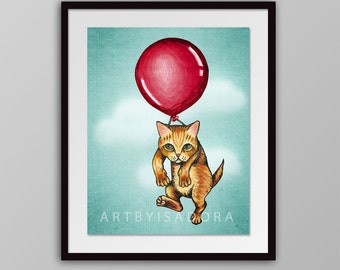 Adorable Cat Print - cute kitty floating with red balloon - children's art - kids room decor nursery art hang in there cat print