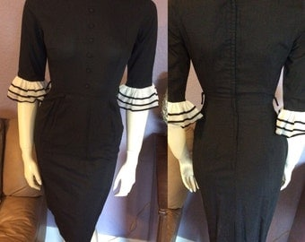 1950's Sheer LBD Black Dress w/White Tulle Ruffle Sleeve Accent Size 2 Petite