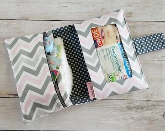 Pink and Grey Diaper Bag | Baby Girl Diaper Bag | Chevron Diaper Bag | Small Diaper Bag | Diaper Clutch | Compact Diaper Bag