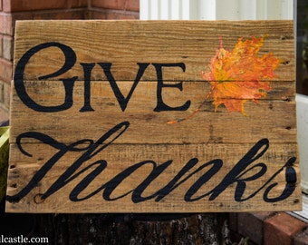 Give Thanks with Hand-Painted Leaf on Reclaimed Wood