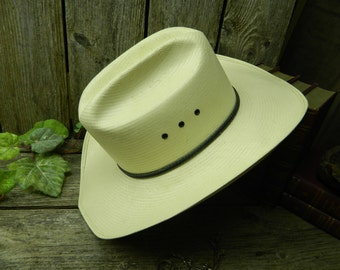 Vintage Ranch Style Stetson Hand Woven Formosan Cowboy Hat