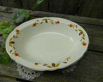 Vintage Hall Jewel Tea Autumn Leaf Oval Serving Bowl