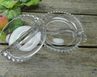 Set of 2 Vintage Serving Dishes - Imperial Glass Co. - Clear Candlewick- Beaded Glass - Duncan Glass Divided Relish Nut Dish