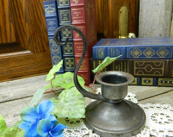 Vintage Rustic Hand Forged Chamberstick Candle Holder Candlestick - Signed