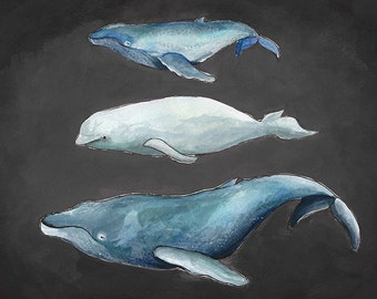 Gray Stackable Whales Giclee Print