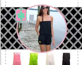 Monogram Romper Cover Up / Personalized Romper / Bridemaid Rompers