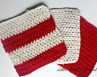 Three Red/White/Striped Cotton Crochet Wash Cloths