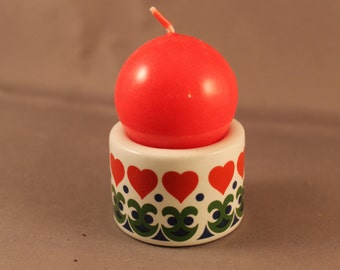 Lovely Sweet Candle Holder Candleholder for Globe Candles Made in the 60s or 70s by FUNNY DESIGN West Germany Naive Vintage Porcelain Hearts