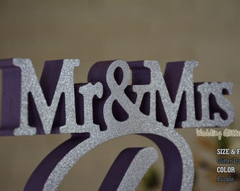 Custom Made Mr & Mrs Family Name Sign For Your Sweetheart Table. Available DIY, Painted, Glittered. Unique One Piece Wooden Sign.