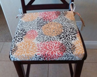 Chair cushion, Blooms Chili Pepper, kitchen chair cushion covers, bar/counter stool cover. Orange yellow brown gray. Washable. Removable.