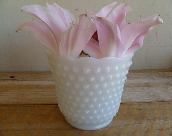 Vintage Hobnail Milk Glass Planter Candy Dish Bowl