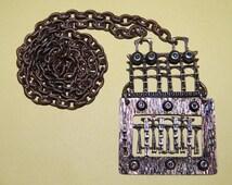 "Super Sale Early Pentti Sarpaneva Bronze Spike Brutalist iconic Necklace Industrial Statement Pendant Rare 3.5"" TALL Sculpture"