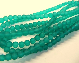 Frosted Glass Beads, Dark Teal Green, 8 mm, 56 Beads, Value Beads, Great for any Beading Project #0051