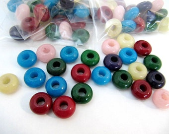 Jade European Beads,12 package,  Large Hole Beads, Rondelle, Mixed Color, about 14mm In Diameter, 8mm Thick, Hole 5mm