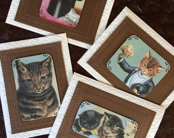 "Set of 4 cards in ""Vintage Cats in Brown"" Stationary/Specialty Handmade Set/Invitations/Stationary/Gift for Cat Lovers/Kitty Greeting Cards"