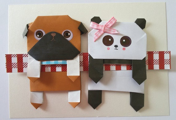 Cool Set Paper Panda and Pug Bookmark , Paper Doll,Origami Panda Bookmark, Cute Pug Bookmark, Cute little gift